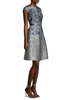 St. John Metallic Floral Jacquard Dress
