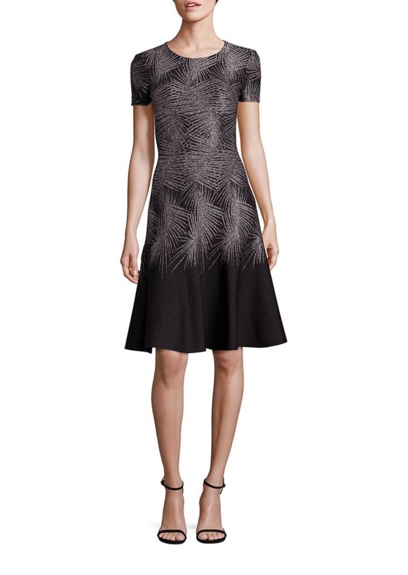 St. John Metallic Palm Jacquard A-Line Dress