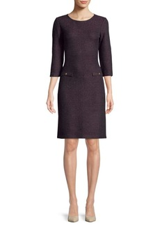 St. John Metallic Quarter-Sleeve Sheath Dress
