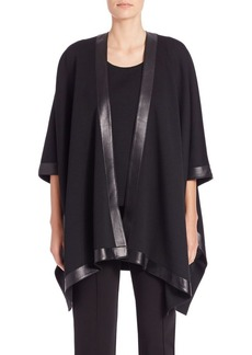 St. John Caviar Collection Milano Leather-Trim Poncho