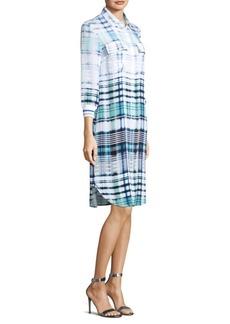 St. John Ombre Plaid Shirt Dress