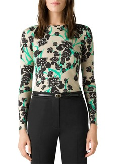 St. John Orchid Fever Printed Sweater