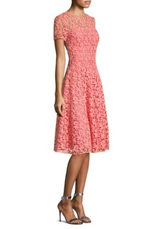 St. John Paisley Guipure Lace A-Line Dress