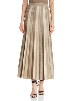 St. John Pleated Metallic Jacquard Knit Maxi Skirt