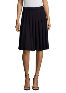 St. John Pleated Wool-Blend Skirt