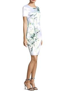 St. John Printed Leaves Short Sleeve Dress