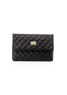 St. John Collection Quilted Leather Fold-Over Clutch Bag