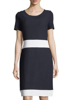 St. John Rib-Knit Scoop-Neck Shift Dress