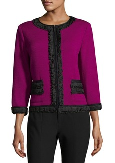 St. John Rib-Knit Zippered Jacket