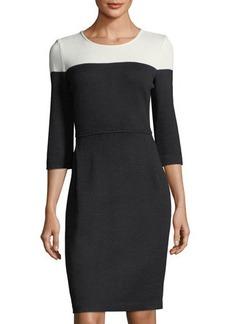 St. John Santana Knit 3/4-Sleeve Colorblock Sheath Dress