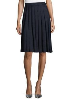 St. John Santana Knit Flute-Pleated Skirt