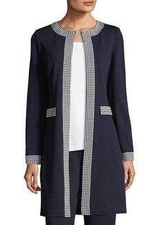 St. John Santana Knit Long Jacket W/ Sequin Border