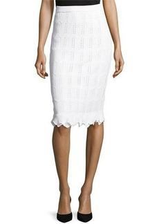 St. John Santana Knit Pencil Skirt w/ Ruffled Hem