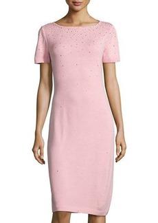 St. John Santana Knit Short-Sleeve Dress Dress