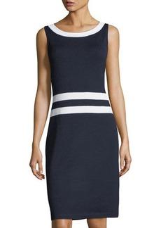 St. John Santana Knit Sleeveless Dress w/ Contrast Trim