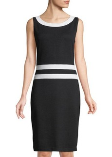 St. John Santana Knit Sleeveless Dress w/ Contrast Trim