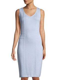 St. John Santana-Knit Sleeveless  Dress with Welt Detail