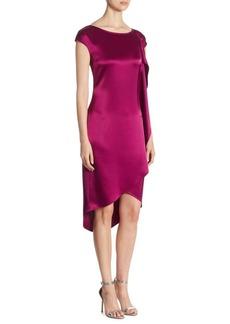 St. John Satin Cap-Sleeve Hi-Lo Dress