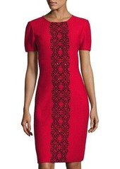 St. John Scroll-Embroidered Crinkle-Knit Dress