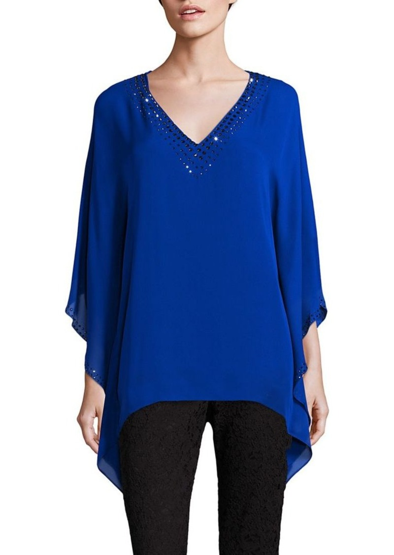 St. John Sequin-Embellished Silk Caftan Top