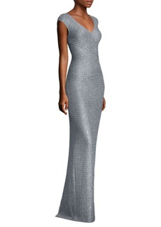 St. John Sequin Mermaid V-Neck Gown