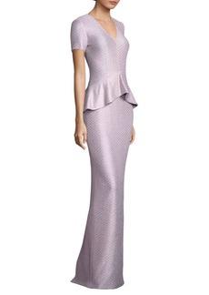 St. John Sequin Peplum Gown