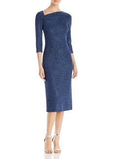 St. John Sequined Asymmetric-Neck Knit Midi Dress