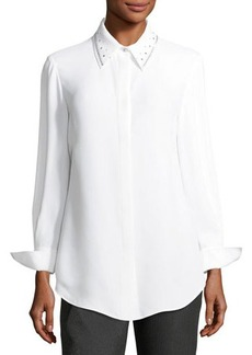 St. John Sequined-Collar Georgette Blouse