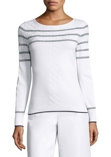 St. John Sheer Stripe Cableknit Sweater