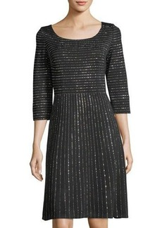 St. John Shimmer-Striped Milano Dress