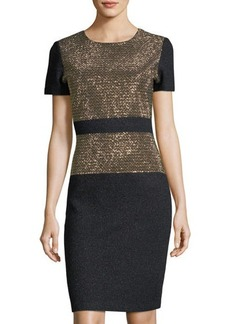 St. John Short-Sleeve Beaded-Bodice Dress