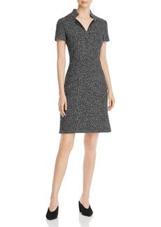 St. John Short-Sleeve M�lange Tweed Dress