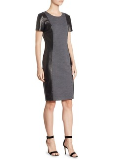 St. John Short Sleeve Two-Tone Dress