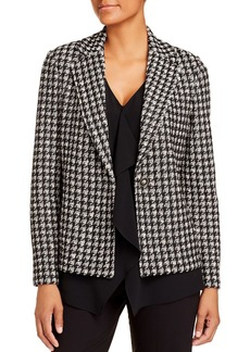 St. John Single-Button Houndstooth Boucl� Knit Jacket