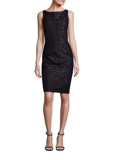 St. John Sleeveless Mesh Embroidered Dress