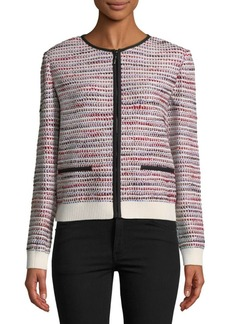 St. John Speckled Knit Zip-Front Bomber Jacket