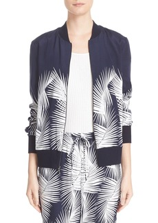 St. John Sport Collection Palm Print Stretch Silk Bomber Jacket