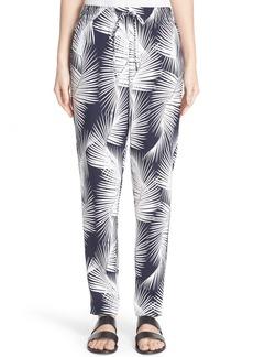 St. John Sport Collection Palm Print Stretch Silk Pants