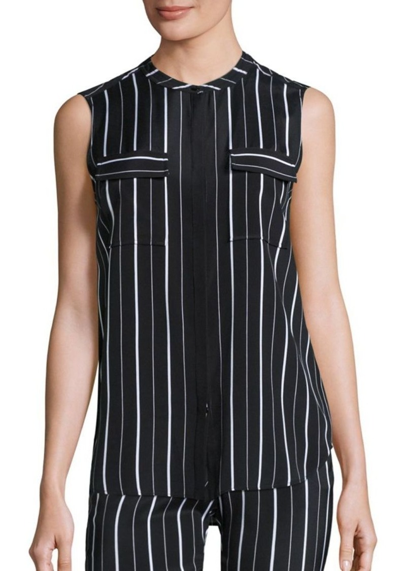 St. John Sport Collection Striped Silk Blouse