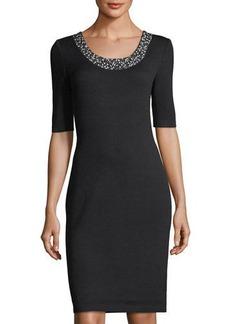 St. John Studded-Collar Sheath Dress