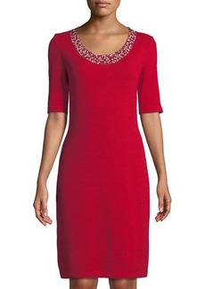 St. John Studded-Collar Sheath Dress