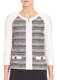 St. John Tweed-Knit Zip-Front Jacket