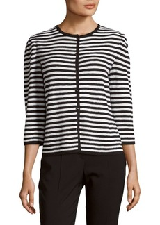 St. John Two-Tone Stripe Cardigan
