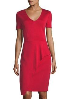 St. John Waterfall-Knit Draped Short-Sleeve Dress
