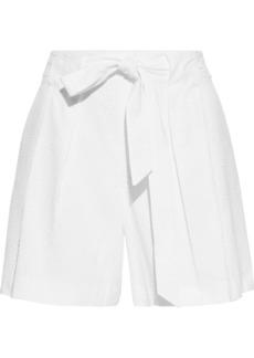 St. John Woman Belted Pleated Cotton-seersucker Shorts White