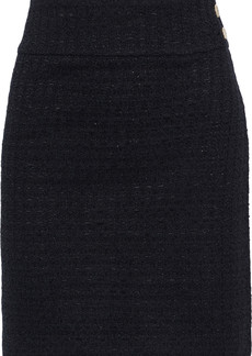 St. John Woman Button-detailed Bouclé Mini Skirt Black