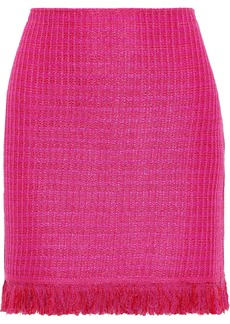 St. John Woman Fringed Metallic Tweed Mini Skirt Bright Pink