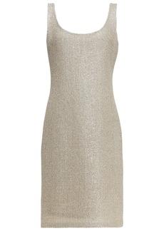 St. John Woman Metallic Bouclé-knit Dress Gold