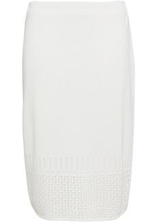 St. John Woman Pointelle-trimmed Knitted Pencil Skirt Off-white