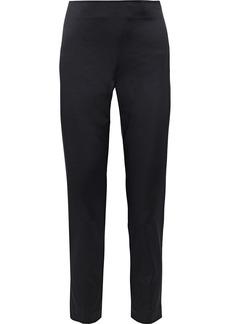 St. John Woman Satin Slim-leg Pants Black